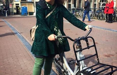 Lori with bike in Amsterdam (2015)